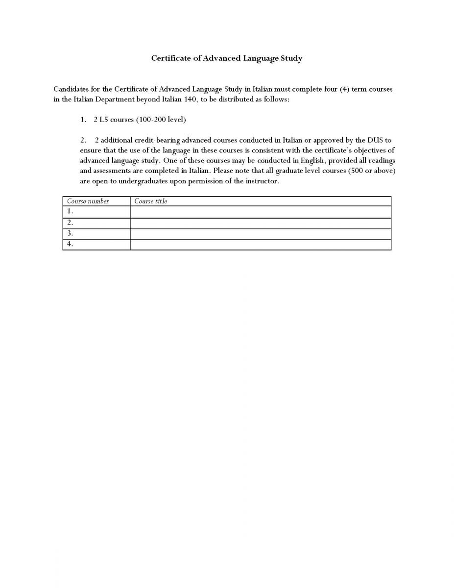 Undergraduate | Department of Italian Language and Literature